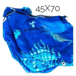 Accessories - Beach Wrap Riviera Maya Mexico Blue Scarf Pool